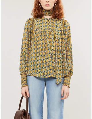 Wanderlust Happy X Nature geometric-print crepe blouse