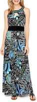 Ronni Nicole Sleeveless Embellished Pattern Maxi Dress