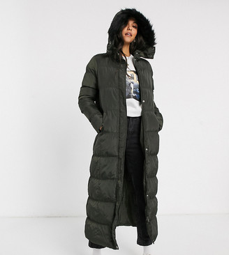 Brave Soul Tall hopma longline puffer jacket with faux fur trim hood-Green