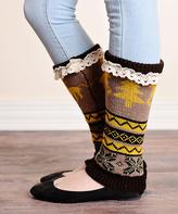 Mocha Lace-Trim Boot Cuffs