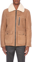 Ami Alexandre Mattiussi Pocket-detail leather and shearling jacket
