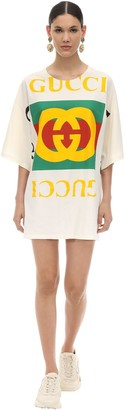 Gucci Oversize Printed Cotton T-Shirt Dress