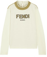 Fendi Roma Metallic Intarsia Wool Sweater - Cream