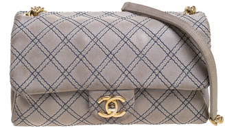 Chanel Grey Metallic Stitch Leather Small Classic Flap Bag