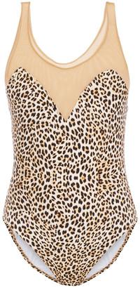 Norma Kamali Tulle-paneled Leopard-print Swimsuit