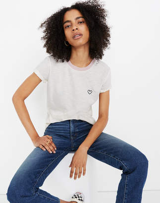 Madewell Heart Embroidered Whisper Cotton Crewneck Tee
