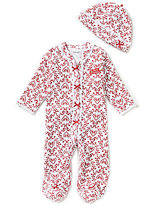 Little Me Baby Girls Newborn-9 Months My First Christmas Damask Footed Coverall