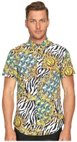 Versace All Over Baroque Tiger Print Short Sleeve Button Up