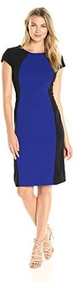 Ronni Nicole Women's Short Sleeve Color Block Mid Length Column Dress