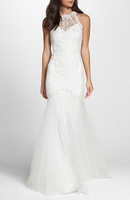 Tadashi Shoji Lace Halter Mermaid Wedding Dress