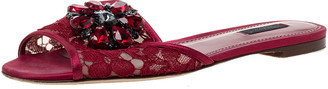 Dolce & Gabbana Red Lace Crystal Embellished Flat Slides Size 39