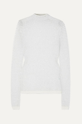 Balmain Sequin-embellished Open-knit Top - White