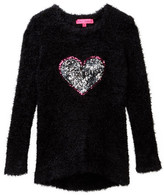 Betsey Johnson Hi-Lo Eyelash Sweater with Sequin Heart Applique (Big Girls)