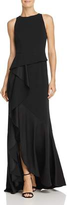 Adrianna Papell Ruffled Knit-Crepe Gown