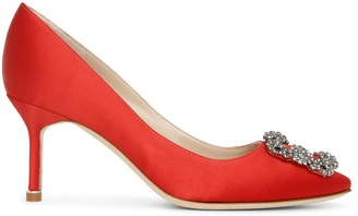 Manolo Blahnik Hangisi 70 red satin pumps