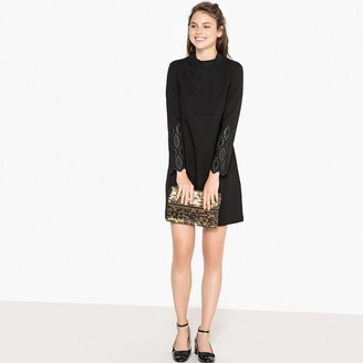 La Redoute Collections Embroidered Sleeve High Neck Shift Dress