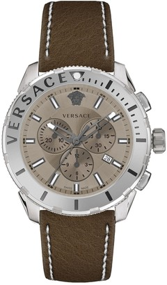 Versace Men's Casual Chrono Leather Strap Watch, 48mm