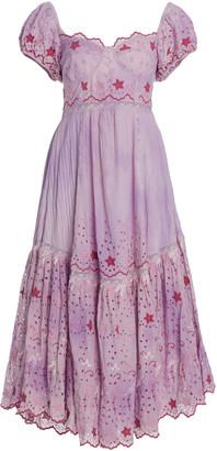 LoveShackFancy Magena Embroidered-Eyelet Cotton Midi Dress