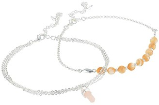 Lucky Brand Bead and Pendant Anklet (Silver) Bracelet