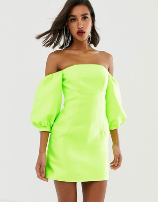 Asos Edition EDITION puff sleeve off shoulder mini dress-Yellow