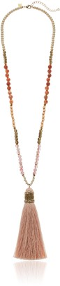Panacea Womens White Peach Stone Tassel Pendant Necklace