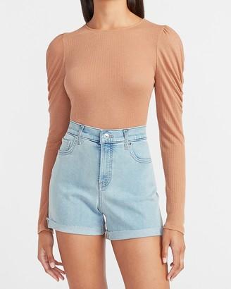 Express High Waisted Convertible Hem Jean Shorts
