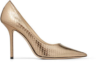 Jimmy Choo LOVE 100 Metallic-Gold Python Point-Toe Pumps