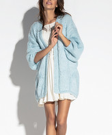 Fobya Women's Open Cardigans SKYBLUE - Sky Blue Puff-Sleeve Open Cardigan - Women