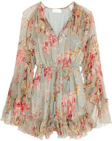 Zimmermann Mercer Floating Ruffled Floral-print Silk-chiffon Playsuit - Light denim