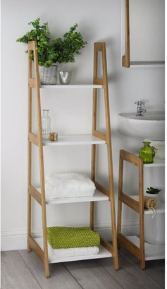 Lloyd Pascal Denver Bamboo 4 Tier Shelf Unit - Natural & White