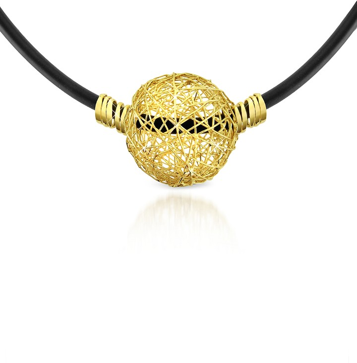 Orlando Orlandini Arianna - 18K Yellow Gold Wire Pendant Rubber Necklace