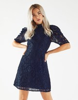 Fashion Union Lace Dress With Volume Sleeves