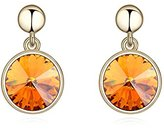 Miki&Co Golden Swarovski Elements Women's Crystal Round Crystal Earrings, with a Gift Box