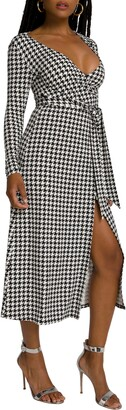 Good American Daynight Long Sleeve Midi Wrap Dress