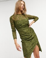 Thumbnail for your product : Little Mistress lace wrap front midi dress in olive