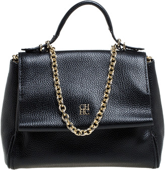 Carolina Herrera Black Leather Mini Minuetto Flap Bag