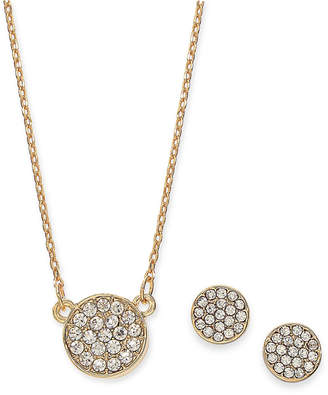 Alfani Gold-Tone 2-Pc. Set Pave Disc Pendant Necklace & Matching Stud Earrings