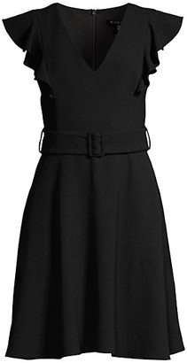 Black Halo Hailey V-Neck Belted Dress