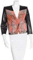 Helmut Lang Leather-Trimmed Abstract Pattern Jacket
