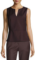 Theory Etia Continuous Wool-Blend Top, Dark Purple