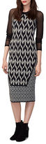 Rachel Roy Mixed Geo Fitted Dress