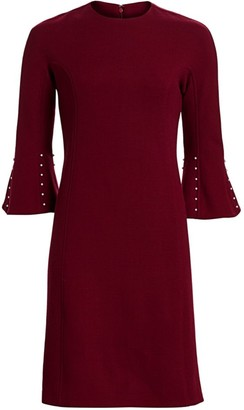 Lela Rose Embellished Wool-Blend Tunic Dress