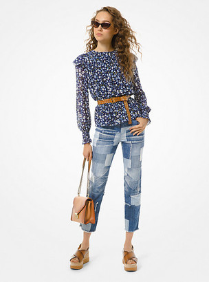 MICHAEL Michael Kors MK Floral Smocked Georgette Blouse - Chambray - Michael Kors