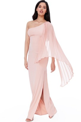 Goddiva Nude Asymmetric Chiffon Sleeve One Shoulder Maxi Dress