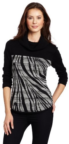 Calvin Klein Women's MSY Zebra Turtle Neck Sweater