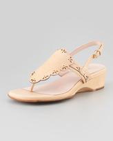 Taryn Rose Kingston Eyelet Low-Wedge Thong Sandal, Nude
