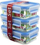 Emsa 508570 Clip & Close Colour 3-piece set of food storage containers 0.55 litres, transparent/blue