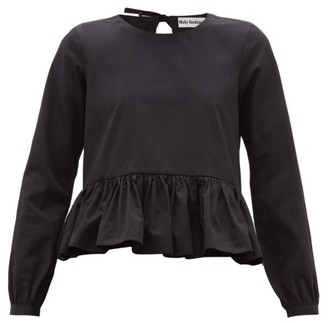 Molly Goddard Wilfred Peplum-hem Cotton Top - Womens - Black