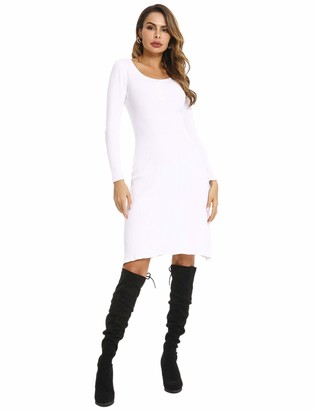 Abollria Women's Round Neck Knit Stretchable Elasticity Long Sleeve Slim Fit Sweater Dress White