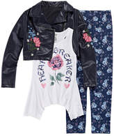 Knitworks Knit Works Embroidered Moto Jacket with Tank and Legging Set- Girls' 7-16 & Plus